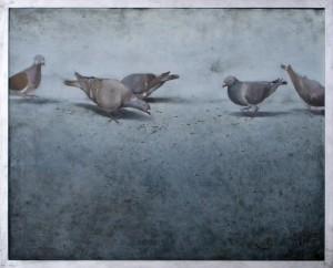 絵画部門 優秀賞  3年 才藤さん『ひなたの鳩』